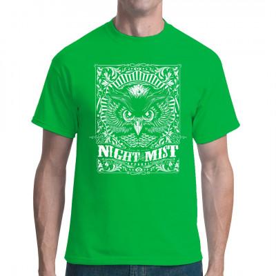 Eine Eule als cooles Tattoo Style Fashion Motiv für dein Shirt  Mittels Digital-Direktdruck aufgebracht. waschfest