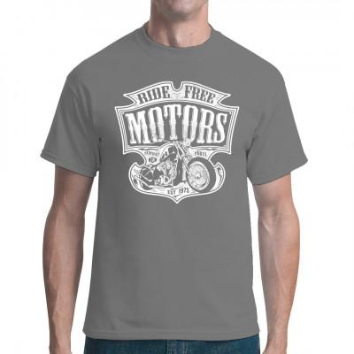Cooles Biker Fun Shirt mit einem Vintage Motorrad. In vielen Größen und Farben erhältlich.  Mittels Digital-Direktdruck aufgebracht. waschfest