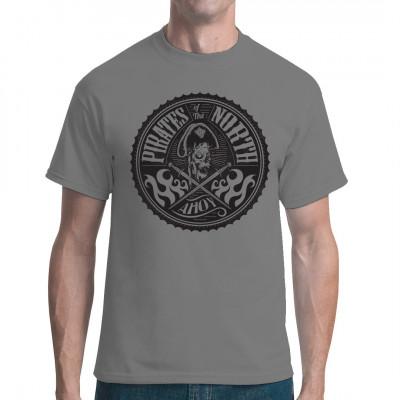 Cooles Piraten Shirt Motiv mit Totenschädel und gekreuzten Schwertern. Ideal als Geschenk. Yarrr!