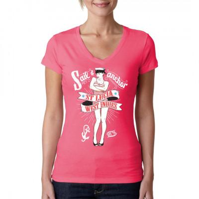 Heißes Pin-Up Girl im Matrosen Look als Motiv für dein Shirt.