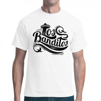 """Western Shirt Motiv: Schriftzug """"Los Banditos"""" mit Sombrero  Mittels Digital-Direktdruck aufgebracht. waschfest"""