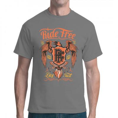 """Cooles Biker Shirt Motiv mit einem Raben und dem Schriftzug """"Ride free - live fast""""  Mittels Digital-Direktdruck aufgebracht. waschfest"""
