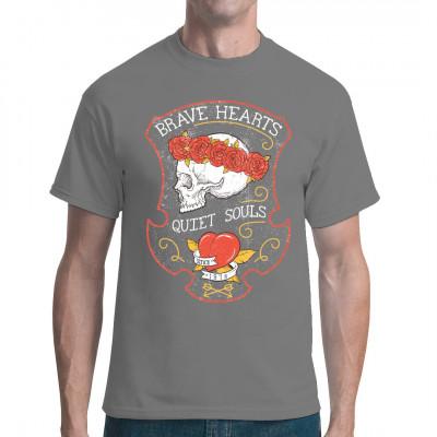 Brave Hearts - Quiet Souls Totenkopf mit Krone aus Rosen Düsteres Motiv für dein T-Shirt, Sweatshirt oder V-Neck. Mittels Digital-Direktdruck aufgebracht. waschfest