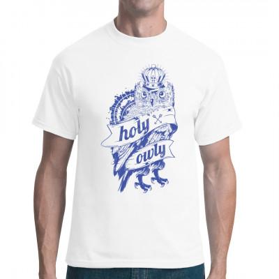 Shirt Motiv: Holy Owly Eule mit Krone als Motiv für dein Fun-Shirt Mittels Digital-Direktdruck aufgebracht. waschfest