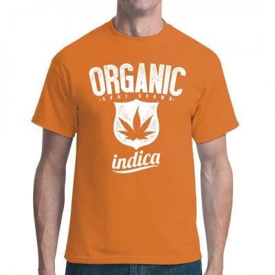 Fun Shirt mit Hanfblatt Ob nun Indica oder Sativa, am besten kifft es sich immer noch mit Eigenanbau. Eine bessere Qualitätskontrolle erreicht man nirgends. Mittels Digital-Direktdruck aufgebracht. waschfest