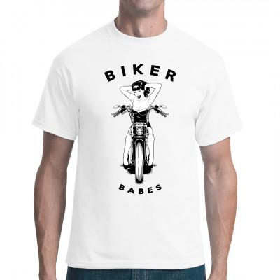 Sexy Pin-Up Girl auf einem Motorrad. Must-have Shirt für alle Biker  Mittels Digital-Direktdruck aufgebracht. waschfest