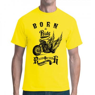 Cooler geflügelter Chopper als Motiv für dein T-Shirt, Sweatshirt oder V-Neck. Ideales Geschenk für alle Biker und Motorrad-Fans.  Mittels Digital-Direktdruck aufgebracht. waschfest