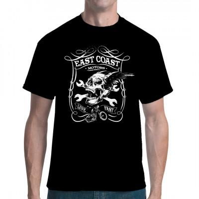 Biker Shirt Motiv East Coast Motors Geflügelter Totenkopf mit gekreuzten Schraubenschlüsseln. Cooles Biker Motiv für Dein T-Shirt, Sweatshirt oder V-Neck.