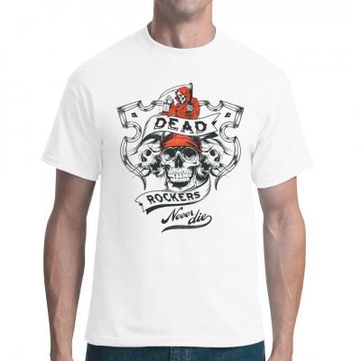 Rockmusik Shirt Motiv: Tote Rocker sterben nie. Sensenmann und Totenschädel als T-Shirt Druck