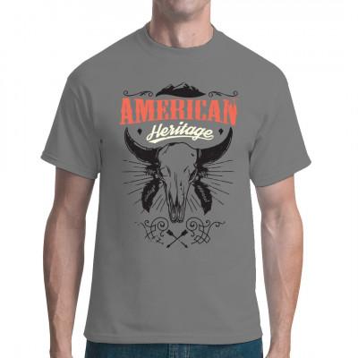 Cowboy Shirt Motiv: American Heritage Skull Cooles Western Style Shirt mit einem Rinderschädel.