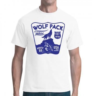 Biker Shirt Motiv: Wolf Pack Riders  Mittels Digital-Direktdruck aufgebracht. waschfest