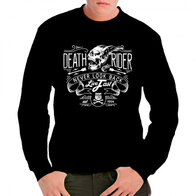 Death Biker - Never Look Back  Cooles Biker Shirt Motiv mit Totenschädel, in S bis 5XL erhältlich. Ideal als Geschenk