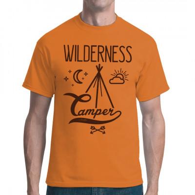 Shirt Aufdruck für Camping - Fans und Naturburschen.