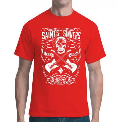 Rock Musik Shirt Motiv: Saints and Sinners Totenschädel mit Gitarren. Cooler Aufdruck für alle Fans härterer Musikrichtungen. Let's Rock!
