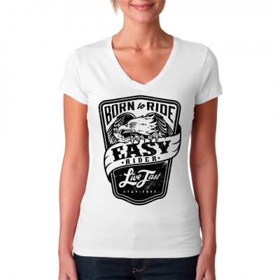 Live Fast - Stay Free! Biker Shirt Motiv in Wappenform mit Adler