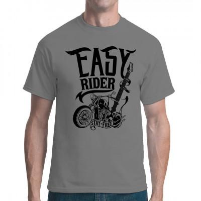 """Cooles Motorrad mit Gitarre und Spruch """"Easy Rider - Stay Free"""" als Aufdruck für dein Biker Shirt."""