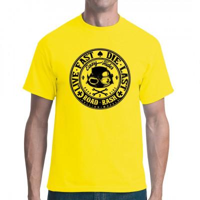 """Biker Shirt Motiv mit Helm, Schutzbrille und Spruch """"Live fast, die last!"""""""