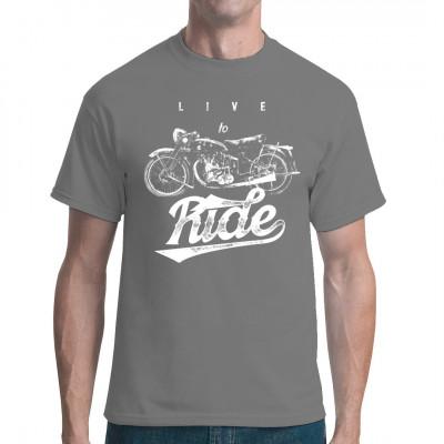 Cooles altes Motorrad im Grunge-Look als Druck für Dein T-Shirt, Sweatshirt oder V-Neck. Das ideale Geschenk für alle Biker.