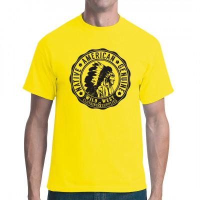 Wild West T-Shirt Motiv mit Indianerkopf