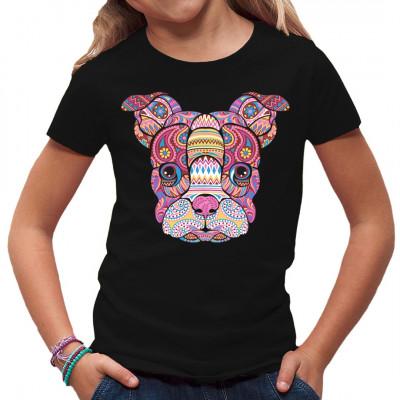 Hundekopf im Mosaik-Stil. Farbintensives Shirt Motiv für alle Tierfreunde  Mittels Digital-Direktdruck aufgebracht. waschfest