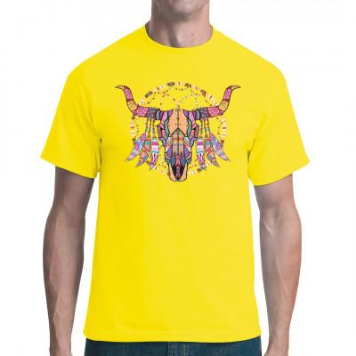Shirt Fashion Motiv: Rinder Schädel in Neon Farben  Mittels Digital-Direktdruck aufgebracht. waschfest