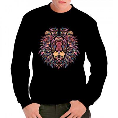 Kaleidoskopartiges Mosaik eines Löwenkopfes für Dein T-Shirt, Sweatshirt oder V-Neck.  Mittels Digital-Direktdruck aufgebracht. waschfest