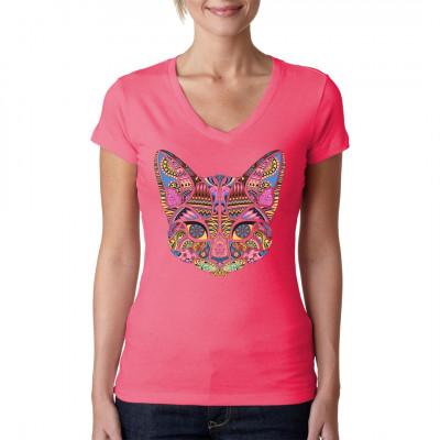 Katze im psychedelischen Mosaik Neon Look. Cooles Fashion Shirt Motiv  Mittels Digital-Direktdruck aufgebracht. waschfest