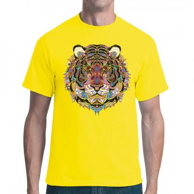 Tigerkopf im psychedelischen Mosaik - Look.  Hol dir dieses abgefahrene Hippie Style Motiv für dein T-Shirt, Sweatshirt oder V-Neck Mittels Digital-Direktdruck aufgebracht. waschfest