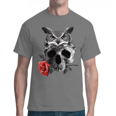 Goth Style Shirt Motiv: Eule mit Totenkopf und Rose