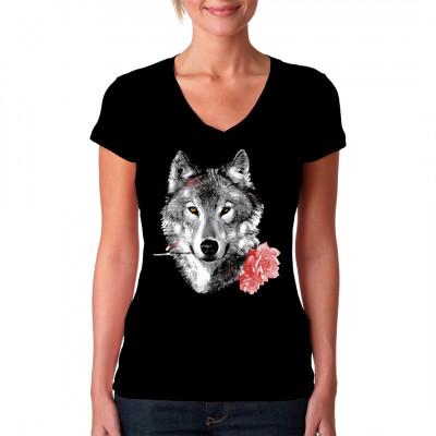 Natur Shirt: Wolf, der zwei Rosen im Maul trägt