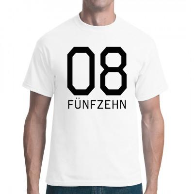 Dieses T-Shirt ist wirklich Null-Acht-Fünfzehn, aber immerhin in vielen verschiedenen Farben, Schnitten und Größen verfügbar. Mittels Flexdruck aufgebracht. waschfest