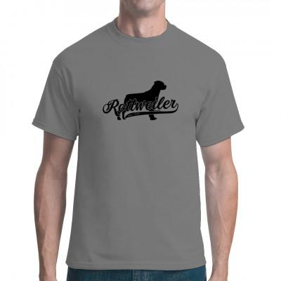 Silhouette eines Rottweilers als hochwertiger Druck für Ihr T-Shirt, Sweatshirt oder V-Neck. Ideal auch als Geschenk für Tierfreunde und Züchter.