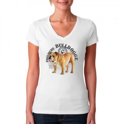 Hunde T-Shirt Motiv: Englische Bulldogge Foto Punkte. Mit Hund ist das Leben besser