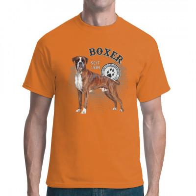 Hunde T-Shirt Motiv: Boxer Foto Kreise Hol Dir noch heute dieses tolle Hunde Motiv für dein T-Shirt, Sweatshirt oder V-Neck, denn mit Hund ist das Leben besser.  Mittels Digital-Direktdruck aufgebracht. waschfest