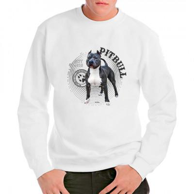Hunde T-Shirt Motiv: Pitbull Foto Spots Hol Dir noch heute dieses tolle Hunde Motiv für dein T-Shirt, Sweatshirt oder V-Neck, denn mit Hund ist das Leben besser.