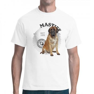 Hunde T-Shirt Motiv: Mastiff Foto  Mit Hund ist das Leben besser, also hol dir dieses tolle Hunde Rassen Motiv für dein T-Shirt, V-Neck oder Sweatshirt