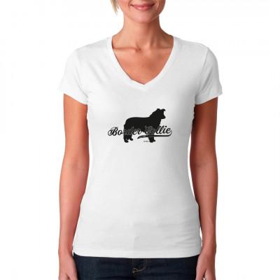 Ein Border Collie als tolles Hunde Motiv für dein T-Shirt, Sweatshirt oder V-Neck.  In vielen Farben und Größen erhältlich.  Mittels Digital-Direktdruck aufgebracht. waschfest