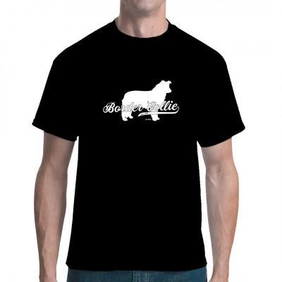 Silhouette eines Border Collie als waschfester Digital-Direktdruck für dein T-Shirt, Sweatshirt oder V-Neck Das ideale Geschenk für jeden Tierfreund und Hundezüchter.  Mittels Digital-Direktdruck aufgebracht. waschfest