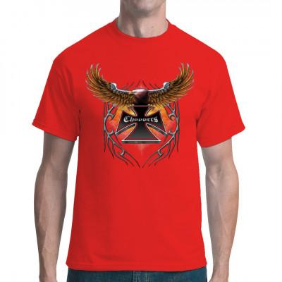 """Adler mit Eisernem Kreuz, Tribal und Aufdruck """"Choppers"""" Cooles übergroßer T-Shirt Druck für alle Biker Motivgröße: ca. 12x13 Zoll"""