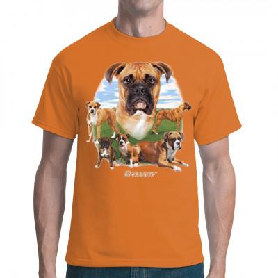 Der Boxer ist ein ausgeglichener, ruhiger und selbstwusster Hund, der nur darauf wartet, auf deinem T-Shirt Platz zu nehmen. Sei ein Tierfreund und biete ihm einen Platz über deinem Herzen.  Tolles Motiv für Hunde - Fans.