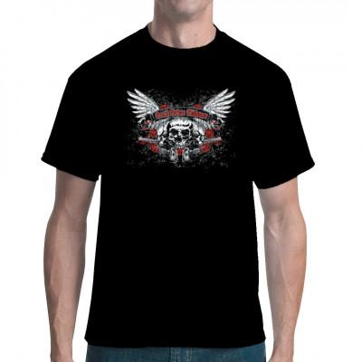 Death Before Dishonor - Lieber sterben als unehrenhaft zu leben. Cooles Biker - Motiv mit einem Totenschädeln, Flügeln und Rosen.