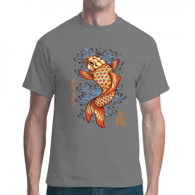 Roter Koi Karpfen Cooles Shirt Motiv im Stil japanischer Tattoo Kunst, wie sie z.B. von den Yakuza praktiziert wird  Motivgröße ca. 9x13 Zoll
