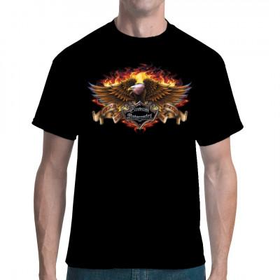 """Flammender Adler mit Aufschrift """"Custom Motorcycles"""" Cooler Textildruck für Biker"""