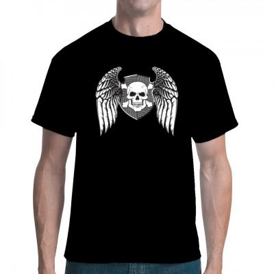 Totenkopf mit Flügeln und Knochen auf einem Schild. Cooles Biker Shirt Motiv Motivgröße: ca. 10x8 Inch