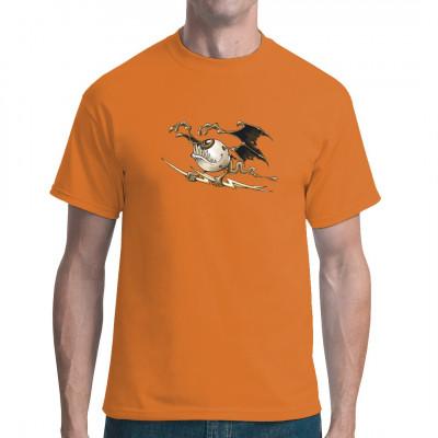 Bizzarres T-Shirt Motiv mit einem geflügelten Auge, dass Blitze in seinen Klauen hält. Witziges Fun-Shirt für alle, die es etwas schärger mögen
