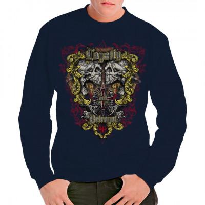 """Zwei schreiende Schädel, ein Kreuz und 2 Engel umrahmt von barocken Ornamenten und den Schriftzügen """"Loyalty"""" und """"Betrayal"""". Übergroßes Biker - Motiv für dein T-Shirt, Sweatshirt oder V-Neck."""