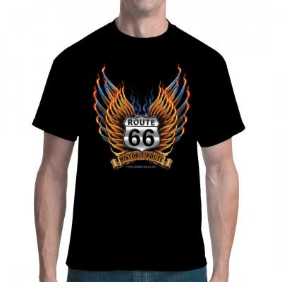 Straßenschild der legendären Route 66 mit goldenen und stahlblauen Flügel und Flammen Cooles Biker - Motiv für dein T-Shirt, Sweatshirt oder V-Neck Motivgröße ca. 13x14 Zoll
