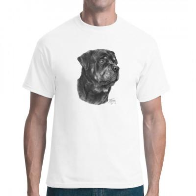 Super Shirt für Hundefans. Hol dir jetzt den Rottweiler für dein Shirt, deinen Sweater oder deinen Jutebeutel.  Dieses Motiv ist nur für helle und mittelhelle Textilen geeignet. Motivgröße ca. 9x12 Zoll.