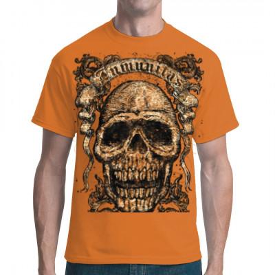 Totenkopf mit Verzierungen Cooles Gothic Motiv für dein Shirt