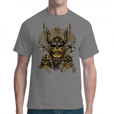 3 Totenschädel mit traditionellen Bärten und Helmen der nordischen Krieger. Cooles übergroßes Wikinger - Motiv für dein T-Shirt, Sweatshirt oder V-Neck Motivgröße: ca. 14x18 Inch